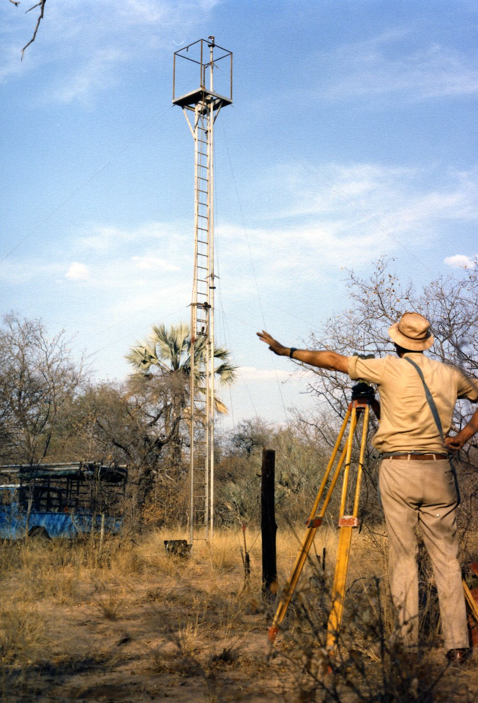 surveying in the Namibian bush in the 1980's