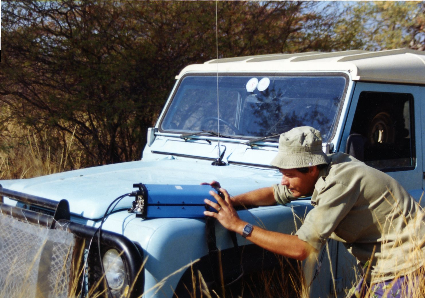 Walter Volkmann using GPS for the first time in Namibian surveying