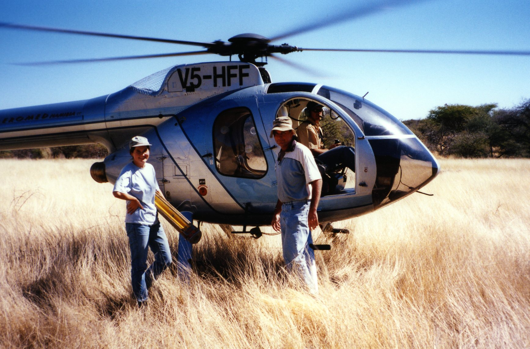 surveying in Namibia with the help of a helicopter