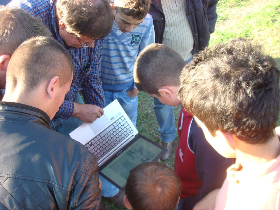 Walter Volkmann of Micro Aerial Projects engaging the community on a World Bank project in Albania