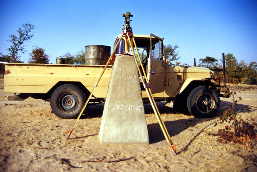 survey marker on the Namibian/Angolan border