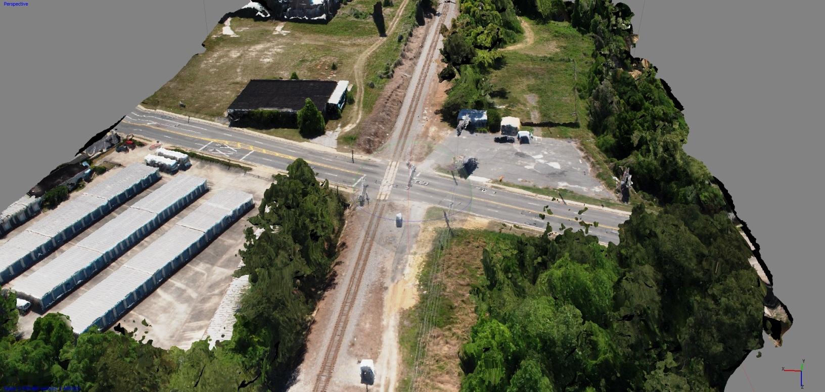 3D model of railroad crossing