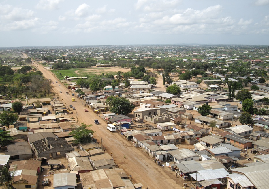 aerial view of town in Ghana taken by Micro Aerial Projects LLC