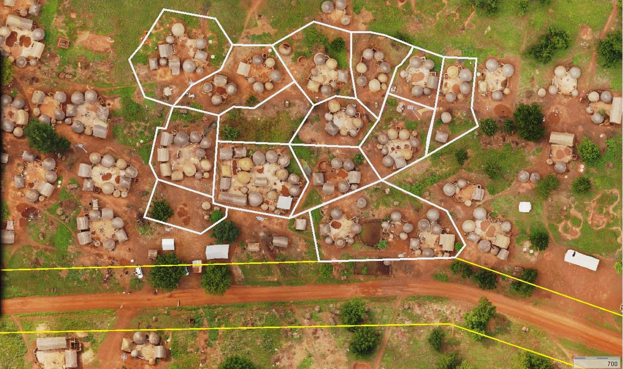 Micro Aerial Projects and their v-map system created this orthoimage in GIS of a village in Africa