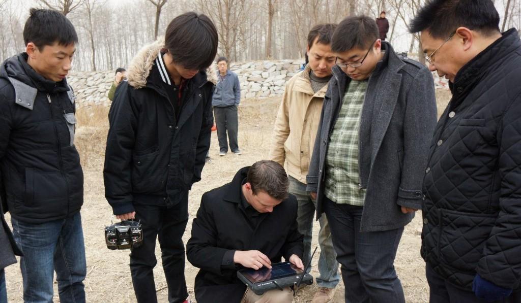 Oliver Volkmann giving a uav demonstration in China